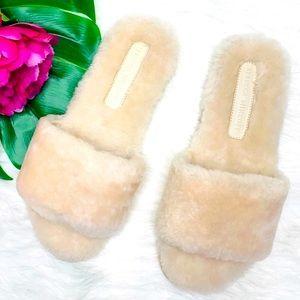 Rebecca Minkoff Cashmere Shearling Slide Sandals
